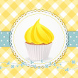 Stock Vector: Cupcake with yellow icing on yellow gingham background
