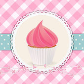 Cupcake with pink icing on pink gingham background — Stock Vector