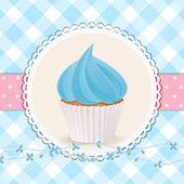 Cupcake with blue icing on blue gingham background — Stock Vector