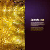 Sparkling gold mosaic and puple panel background — Stock Vector