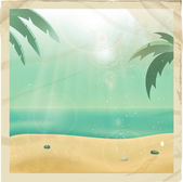 Retro sea view picture — Stock Vector
