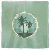 Retro tropical emblem — Stock Vector