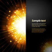 Firework starburst panel background with sample text — Stock Vector