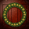 Christmas wreath on a wooden background — Stock Vector