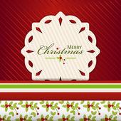 Kerstmis sneeuwvlok label op red2 — Stockvector