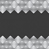Brushed metal mosaics on texture background — Vector de stock