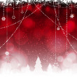 Christmas red background with hanging stars and trees — Imagen vectorial