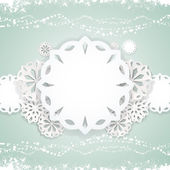 Paper snowflake background on blue — Stock Vector