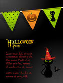Halloween black cat party background — Stock Vector