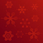 Embossed paper snowflake background on red — Stock Vector