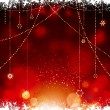 Christmas glowing red background with hanging stars — Stok Vektör