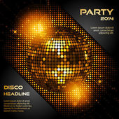 Disco ball in glowing gold with sample text — Stock Vector