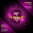 Pink disco ball 2014 party background — Stock Vector
