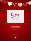 Valentine heart card with ribbon and sample text — Stock Vector