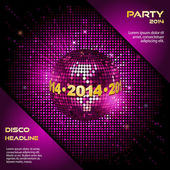 Pink disco ball 2014 party background — 图库矢量图片