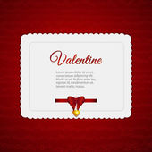 Valentine heart card with ribbon — Stock Vector