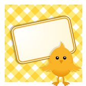 Easter chick and sign on gingham — Stock Vector