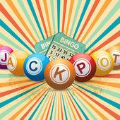 Bingo balls and cards on retro starburst — Stock Vector
