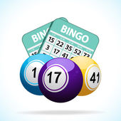 Bingo balls and cards — Stock Vector
