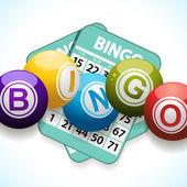 Las bolas del bingo y tarjeta sobre un fondo blanco — Vector de stock