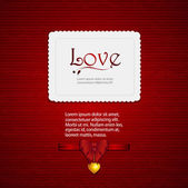 Valentine card with ribbon and sample text2 — Stock Vector
