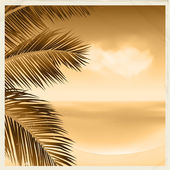 Vintage sepia tropical scene — Stock Vector