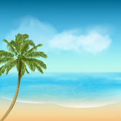 Summer sea and palm tree background — Stock Vector