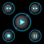 Neon control buttons blue — Stock Vector
