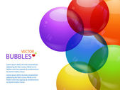 Colourful bubble background landscape and text — Stock Vector
