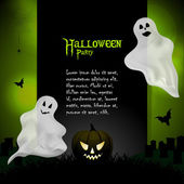 Halloween ghost background with sample text — Stock Vector