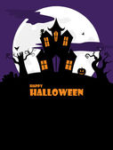 Halloween spooky house portrait — Stock Vector