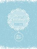 Christmas holly wreath vector background bue — Stock Vector