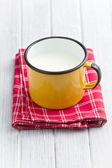 Milk in tin mug — Stock Photo