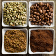 Green, roasted, ground and instant coffee — Stock Photo #13641476