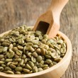 Green coffee beans in wooden bowl — Stockfoto #13641490