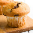 Tasty muffin with chocolate — Stock Photo