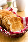 Breakfast. White toasted bread. — Stock Photo