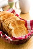 Breakfast. White toasted bread. — Stock Photo