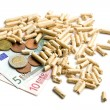 Wood pellets as ecological and economical heating - Foto de Stock