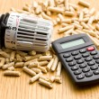 Wood pellets as ecological and economical heating - Stock Photo