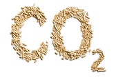 Word co2 made of wood pellets — Stock Photo