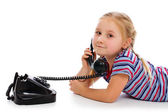 Little girl with old retro phone. — Foto Stock