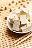 Tofu and soy beans — Stock Photo