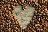 Coffee beans with heart — Stock Photo