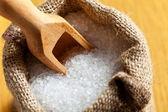 Sea salt in jute sack — Stock Photo