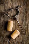 Wine cork and corkscrew — Stock Photo