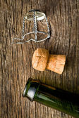Champagne cork and bootle — Stock Photo