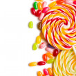Colorful lollipop with jelly beans — Stock fotografie