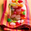 Jelly beans in glass jar — Foto de Stock