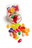 Jelly beans in glass jar — Stock Photo